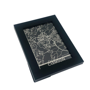 "Clemson - Stainless Steel Map - 5""x7"""