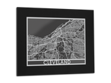 "Cleveland - Stainless Steel Map - 11"" x 14"" - Cut Maps - 1"