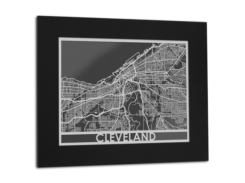 "Cleveland - Stainless Steel Map - 11"" x 14"" - Cool Cut Map Gift"