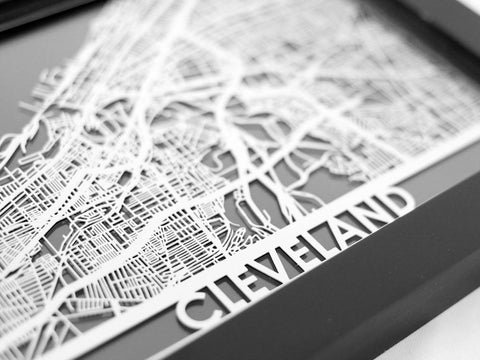 "Cleveland - Stainless Steel Map - 5""x7"" - Cut Maps - 1"