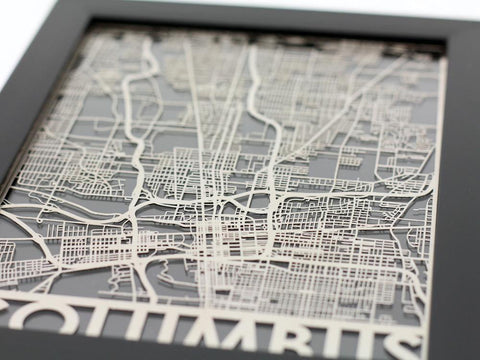 "Columbus - Stainless Steel Map - 5""x7"" - Cool Cut Map Gift"