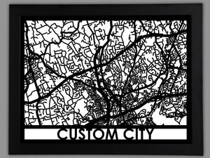 Custom Framed Map - Cool Cut Map Gift