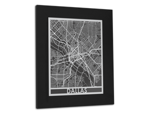 "Dallas - Stainless Steel Map - 11"" x 14"" - Cool Cut Map Gift"