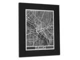 "Dallas - Stainless Steel Map - 11"" x 14"" - Cut Maps - 1"