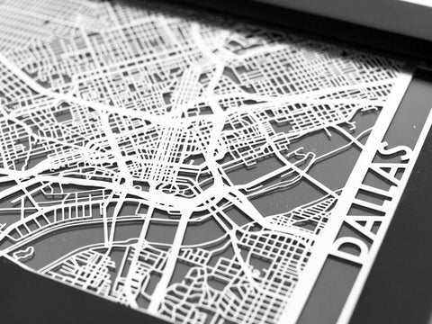 "Dallas - Stainless Steel Map - 5""x7"" - Cool Cut Map Gift"