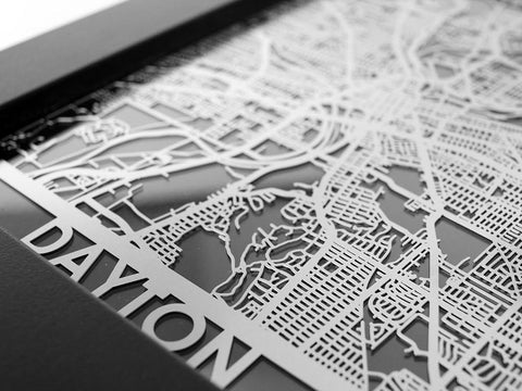 "Dayton - Stainless Steel Map - 5""x7"" - Cut Maps - 1"