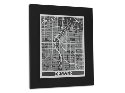 "Denver - Stainless Steel Map - 11"" x 14"" - Cut Maps - 1"