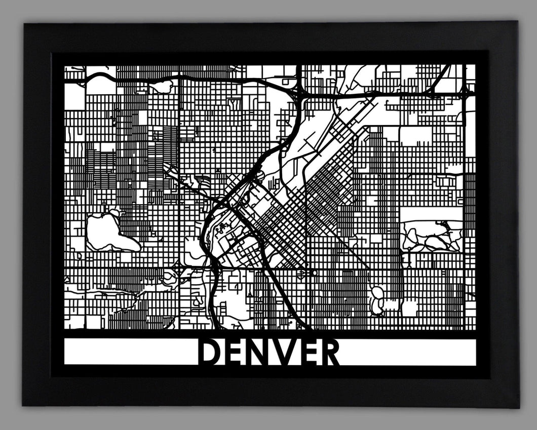 Denver - Cut Maps - Cool Cut Map Gift