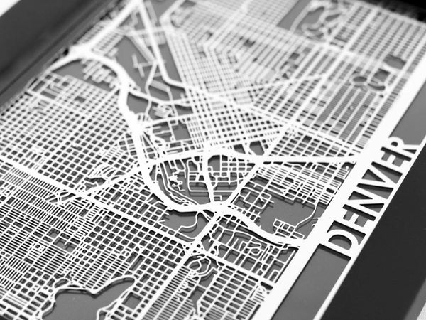 "Denver - Stainless Steel Map - 5""x7"" - Cool Cut Map Gift"