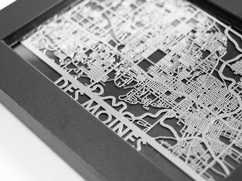 "Des Moines - Stainless Steel Map - 5""x7"" - Cool Cut Map Gift"