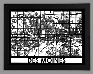 Des Moines - Cool Cut Map Gift