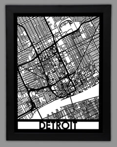 Detroit - Cool Cut Map Gift