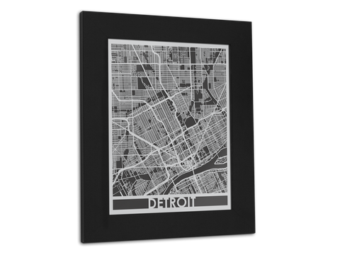 "Detroit - Stainless Steel Map - 11"" x 14"" - Cut Maps - 1"