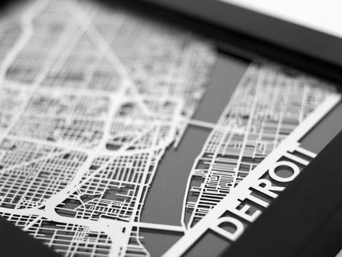 "Detroit - Stainless Steel Map - 5""x7"" - Cool Cut Map Gift"