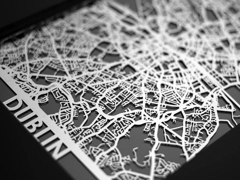 "Dublin - Stainless Steel Map - 5""x7"" - Cool Cut Map Gift"