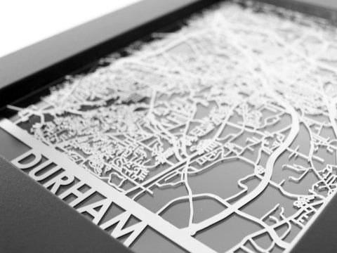 "Durham - Stainless Steel Map - 5""x7"" - Cool Cut Map Gift"