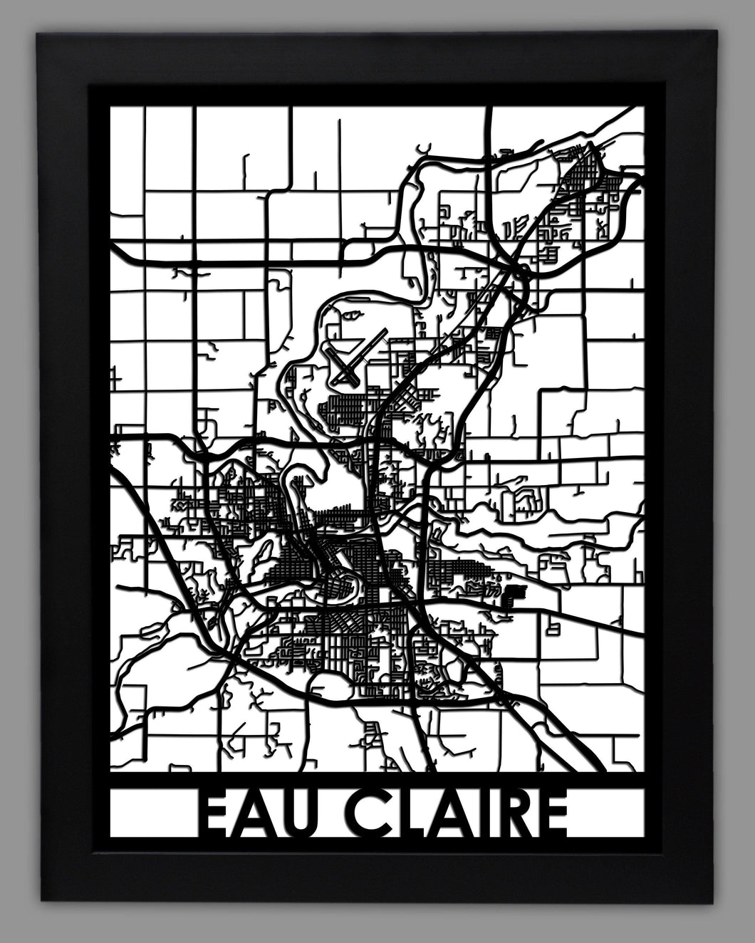 Eau Claire - Cool Cut Map Gift