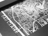 "Eau Claire - Stainless Steel Map - 5""x7"" - Cool Cut Map Gift"