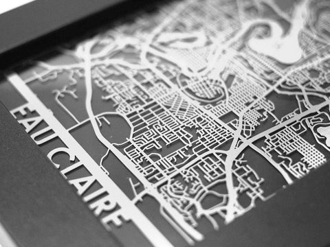 "Eau Claire - Stainless Steel Map - 5""x7"" - Cut Maps - 1"