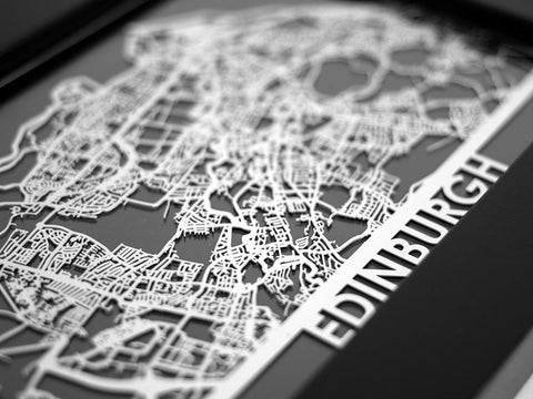 "Edinburgh - Stainless Steel Map - 5""x7"" - Cool Cut Map Gift"
