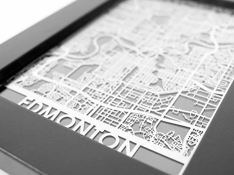 "Edmonton - Stainless Steel Map - 5""x7"" - Cool Cut Map Gift"