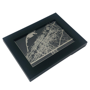 "Erie - Stainless Steel Map - 5""x7"" - Brad's Deals"