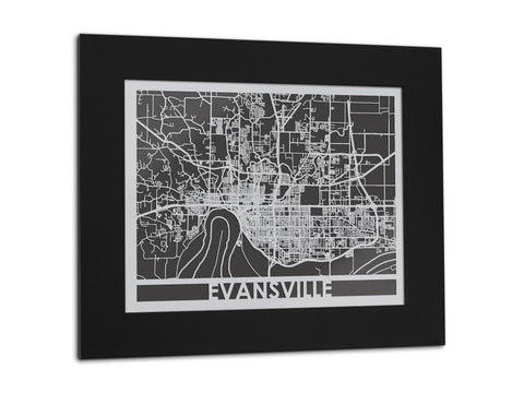 "Evansville - Stainless Steel Map - 11"" x 14"""