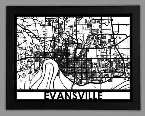 Evansville - Cool Cut Map Gift