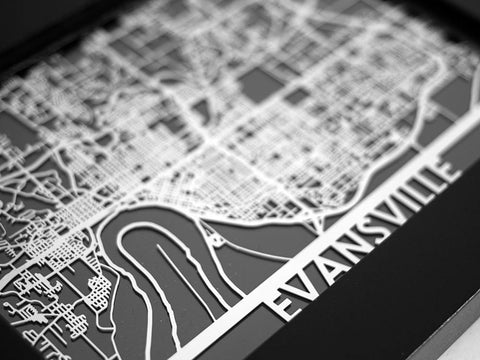 "Evansville - Stainless Steel Map - 5""x7"" - Cut Maps - 1"