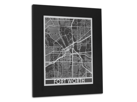 "Fort Worth - Stainless Steel Map - 11"" x 14"" - Cut Maps - 1"