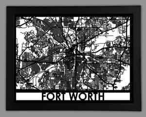 Fort Worth - Cool Cut Map Gift