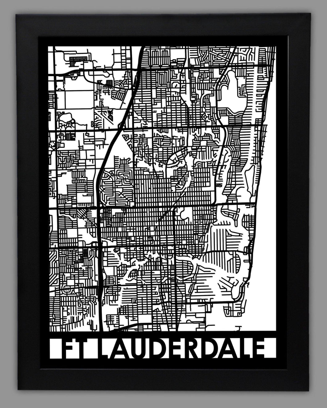 Fort Lauderdale - Cool Cut Map Gift