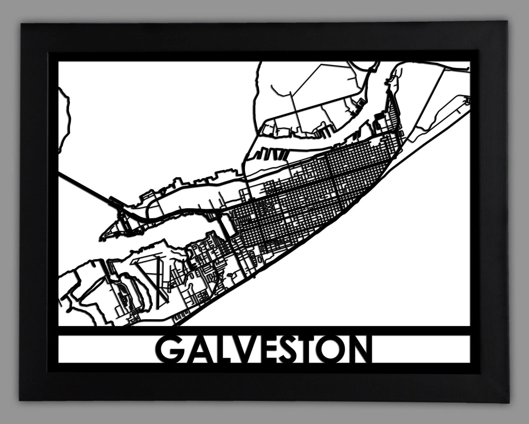 Galveston - Cool Cut Map Gift