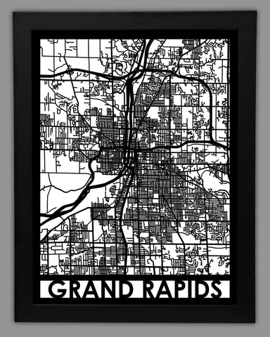 Metal Wall Art Grand Rapids City Map Cut Map Gift Cut Maps