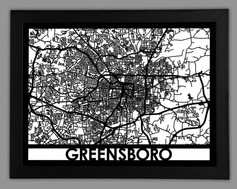 Greensboro - Cool Cut Map Gift