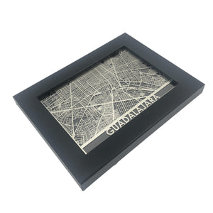 "Guadalajara - Stainless Steel Map - 5""x7"""