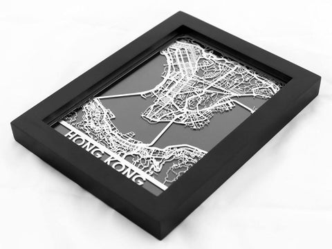 "Hong Kong - Stainless Steel Map - 5""x7"" - Cool Cut Map Gift"