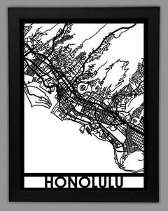 Honolulu - Cool Cut Map Gift
