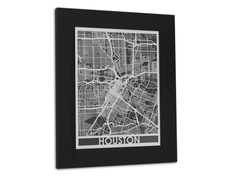 "Houston - Stainless Steel Map - 11"" x 14"" - Cut Maps - 1"