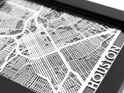 "Houston - Stainless Steel Map - 5""x7"" - Cool Cut Map Gift"