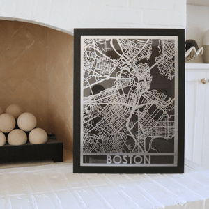 "Stainless Steel 18""x24"" Map-Boston"