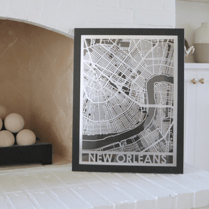 "Stainless Steel 18""x24"" Map-New Orleans"