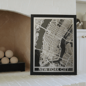 "Stainless Steel 18""x24"" Map-New York City"