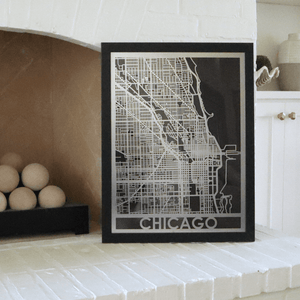 "Stainless Steel 18""x24"" Map-Chicago"