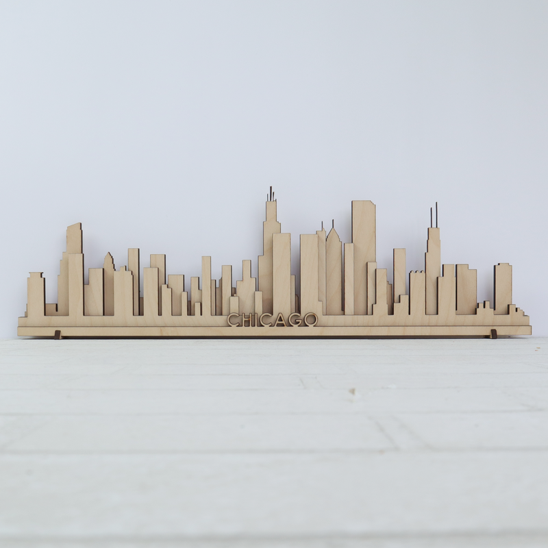 "Chicago Wooden Skyline - 18"" x 6"""
