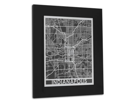 "Indianapolis - Stainless Steel Map - 11"" x 14"" - Cut Maps - 1"