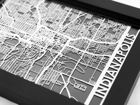 "Indianapolis - Stainless Steel Map - 5""x7"" - Cool Cut Map Gift"