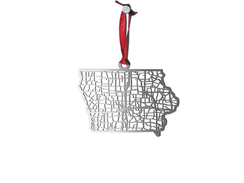Iowa Ornament - Cool Cut Map Gift