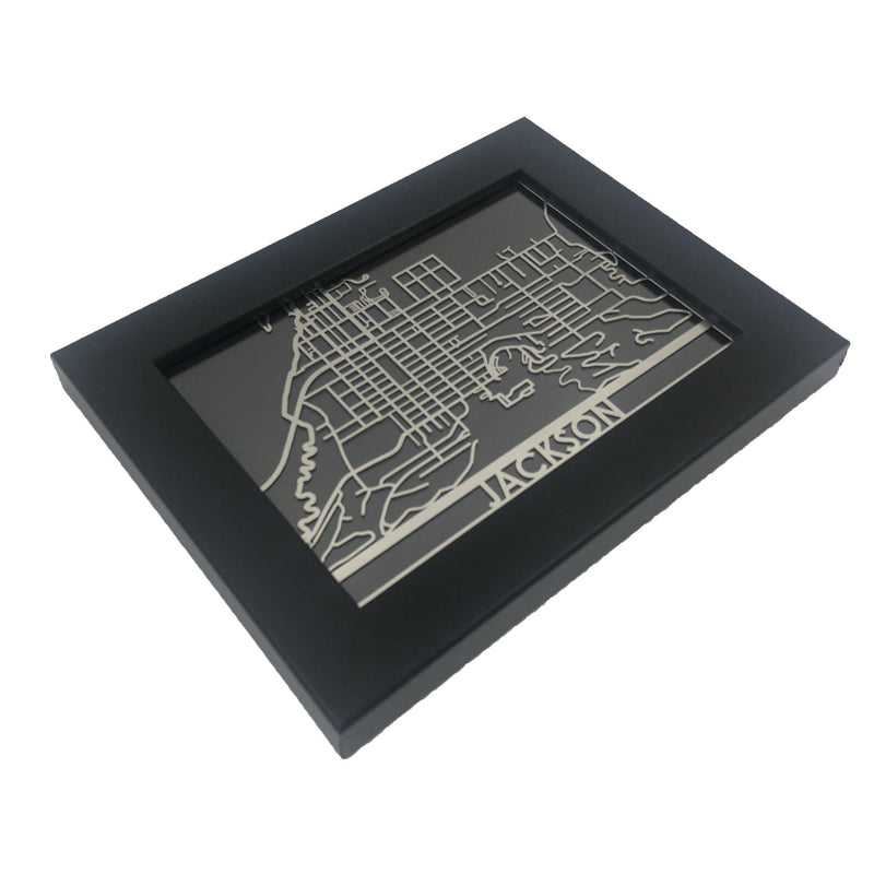 "Jackson - Stainless Steel Map - 5""x7"""