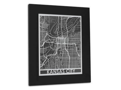 "Kansas City - Stainless Steel Map - 11"" x 14"" - Cool Cut Map Gift"